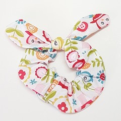 Coloured owls bow scrunchie