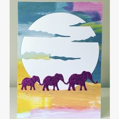 Sunset elephant card