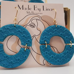 Teal mermaid polymer clay earrings