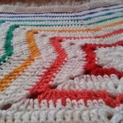 Baby rainbow sparkle star blanket afghan crocheted soft acrylic