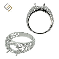 Filigree Ring for 7x9mm Oval stones in Sterling Silver