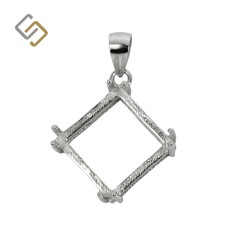 Square Pendant with Double Prongs and Soldered Loop & Bail in Sterling Silver