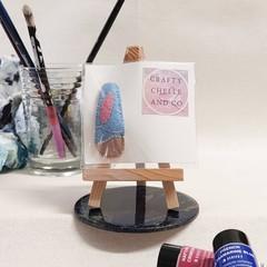 Handmade felt covered clip with beach scene embroidery