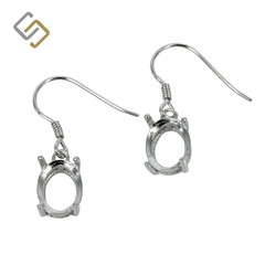 Earrings with 7x9mm Oval Basket Setting in Sterling Silver