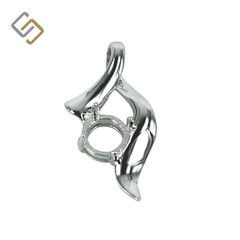 Ribbon Flourish Pendant with Incorporated Bail in Sterling Silver for 8mm Round