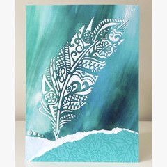 Teal feather card