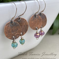 Luna Drops - Copper and Czech Glass Earrings