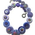 Ladies Button necklace -  Blue Swirls
