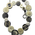 Vintage button necklace -  Ebony and Ivory