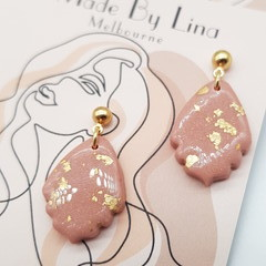 Nude peach polymer clay earrings