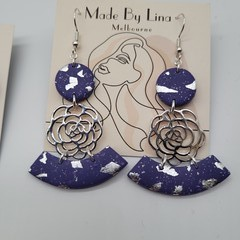 Purple polymer clay earrings