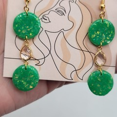 Green opalescent clay earring