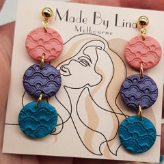 Mermaid rainbow polymer clay earrings