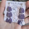 Purple silver polymer clay earrings