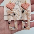Peach clay+acrylic long dangle earring