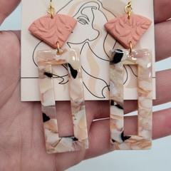 Peach clay+acrylic long dangle earring