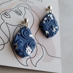 Navy polymer clay stud dangles