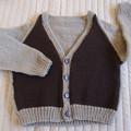 4-5 yrs: Hand knitted Cardigan, washable, boy
