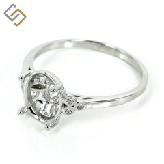 Elegant gallery style basket setting ring with trios of CZ in sterling silver