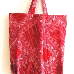 foldable eco bag  / RED - bandana