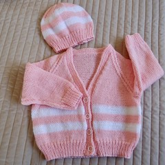 SIZE 3  (+) yrs: Hand knitted cardigan with matching beanie: acrylic, girl