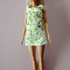Cream and yellow flower Barbie doll dress