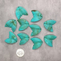 10x Mermaid Tail Beads / Charms / Pendants - turquoise