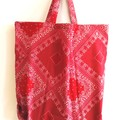foldable eco bag  / RED - bandana