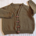 SIZE 7-9 yrs :Hand knitted cardigan in dark olive green : Unisex, washable, OOAK