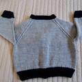 SIZE 3 (+)yrs :Hand knitted cardigan : boy, washable