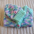 SIZE 1-2 years - knitted cardigan  with matching beanie