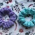 Handmade Sparkly Teal & Lavender Crochet Scrunchies