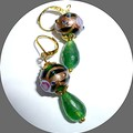 Emerald and wedding cake earrings. FREE SHIPPING