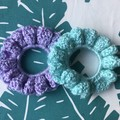 Handmade Sparkly Teal & Lavender Crochet Scrunchies