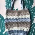 Crochet Market Bag | Caron Cake Cotton (Blues & Browns) |  Shell Stitch Bag