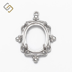 Pendant with Oval Bezel Mounting in Sterling Silver for 12mm x 16mm Oval Stones