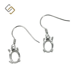 Earrings with 6x8mm Oval Basket Setting in Sterling Silver