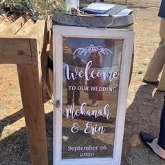 Rustic farmhouse window Wedding Sign, Personalised custom made, names & date
