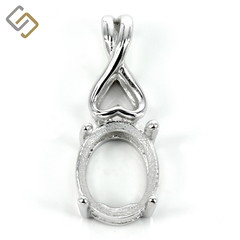Oval basket-style pendant, incorporated bail in sterling silver for 8x10mm stone