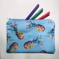 Blue pineapples pencil case