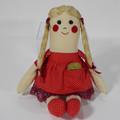 Lara Cloth Doll - Mini Heirloom Style Fabric Doll in Ruby Red Spot Print