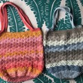 Crochet Market Bag | Caron Cake Cotton (Blues & Browns) |  Shell Stitch Bag
