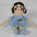 Kimmy Cloth Doll - Mini Heirloom Style Fabric Doll in Pale Blue Spots Print