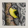 Australian Birds - Eastern Yellow Robin - Linoprint and watercolour