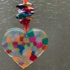 Melted Bead Heart Suncatcher