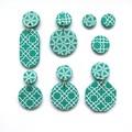 Fresh Green + white Drop Statement Earrings -  ocatagon