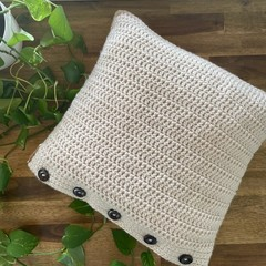 Beachy Boho Style Cushion Cover -Natural with 5 Wooden look buttons - Home decor