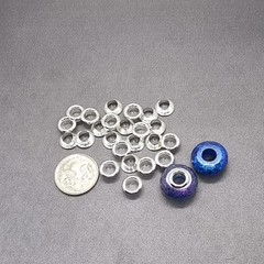 24x Silver European Style Brass cores / grommet for large hole resin beads