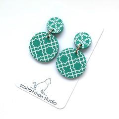 Fresh Green + white drop Earrings - cross large