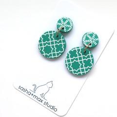 Fresh Green + white drop Earrings - cross mid disc